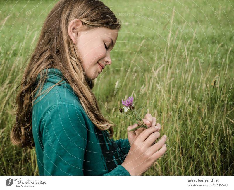 Blumenmädchen Mensch feminin Kind Mädchen Schwester Kindheit Kopf Haare & Frisuren Gesicht 1 8-13 Jahre Umwelt Natur Landschaft Tier Sommer Schönes Wetter