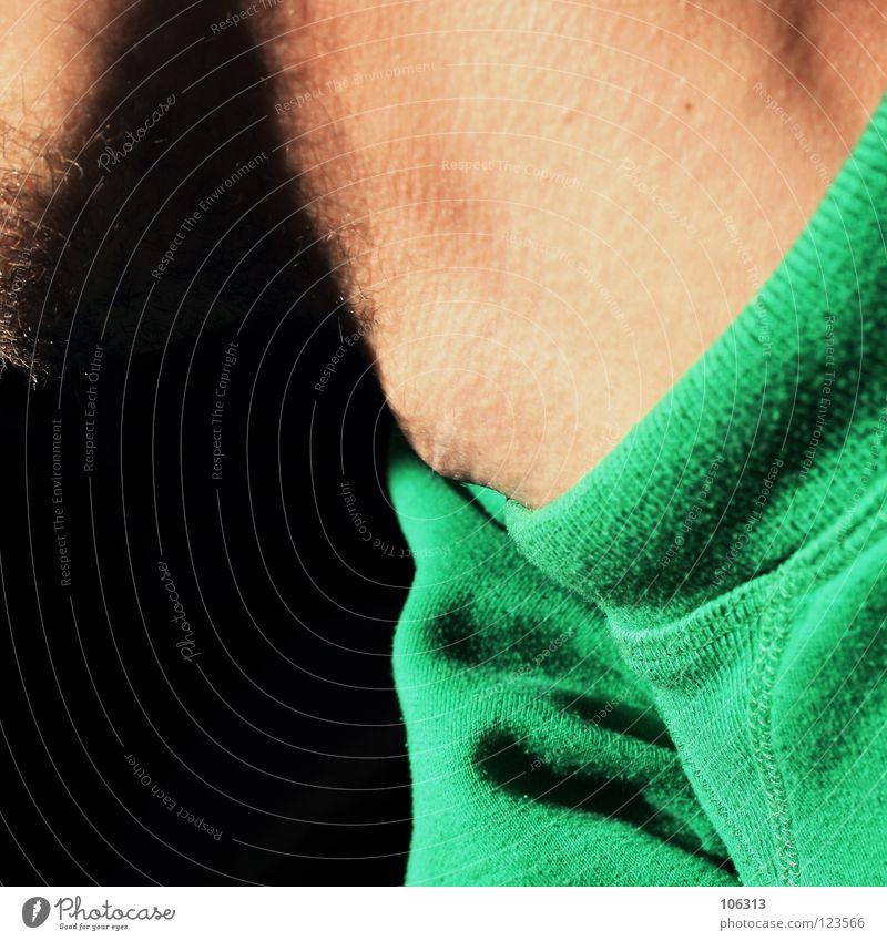 GIRAFFENMENSCH Mensch Mann alt grün oben Haare & Frisuren Wege & Pfade Traurigkeit Denken Lampe Haut Bekleidung Stoff leuchten Fell lang