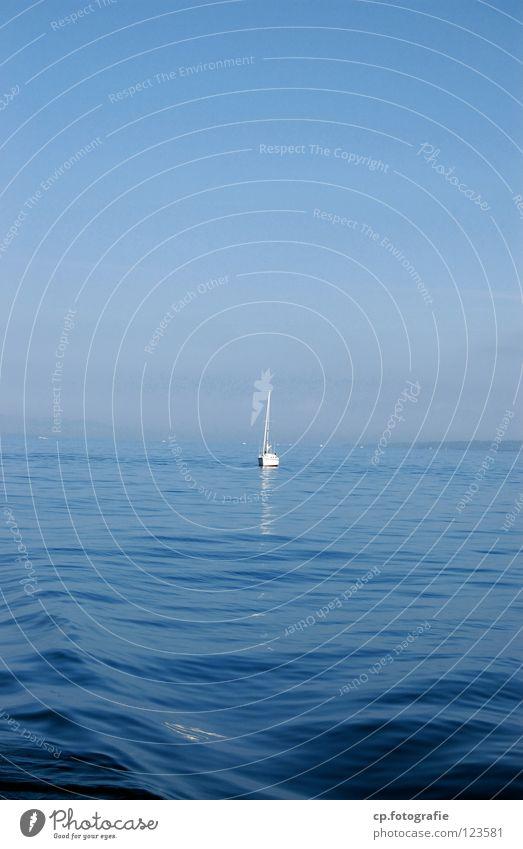 Genfer See Jacht Wasser blau Himmel Ferien & Urlaub & Reisen träumen Einsamkeit Frieden Idylle Meer Sommer Schweiz Im Wasser treiben