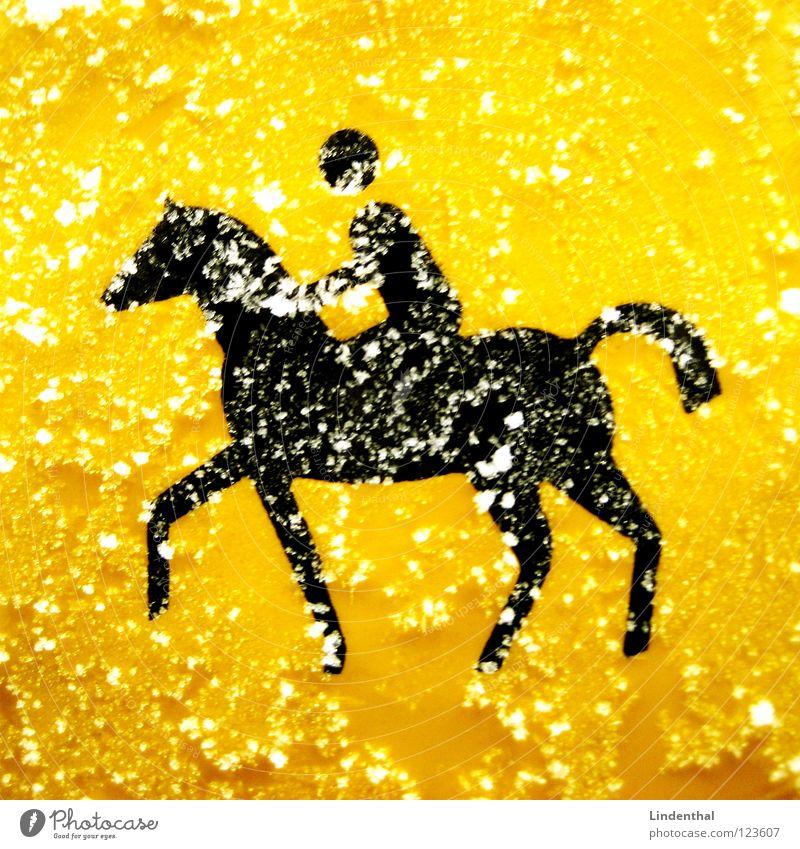 Horse-Rider Pferd Symbole & Metaphern Logo graphisch Ampel Türöffner Schalter gelb Schnellzug Hinweisschild Säugetier Straßennamenschild Reiter