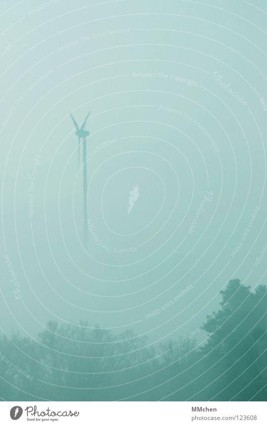 Hasi, mach doch mal den Scheibenwischer an! Himmel blau weiß Baum Winter dunkel kalt Wetter Nebel Energiewirtschaft Sträucher trist Windkraftanlage verstecken