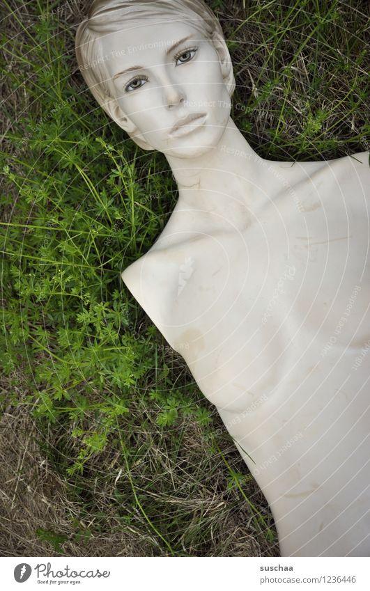 da lag sie im gras . Gras grün Puppe Schaufensterpuppe ohne arme nackt Frauenbrust Gesicht Model falsch
