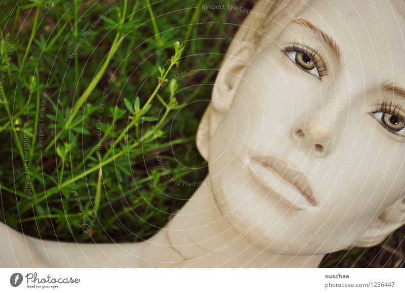 da lag sie im gras .. Gras grün Puppe Schaufensterpuppe Gesicht Auge Nase Mund Model falsch