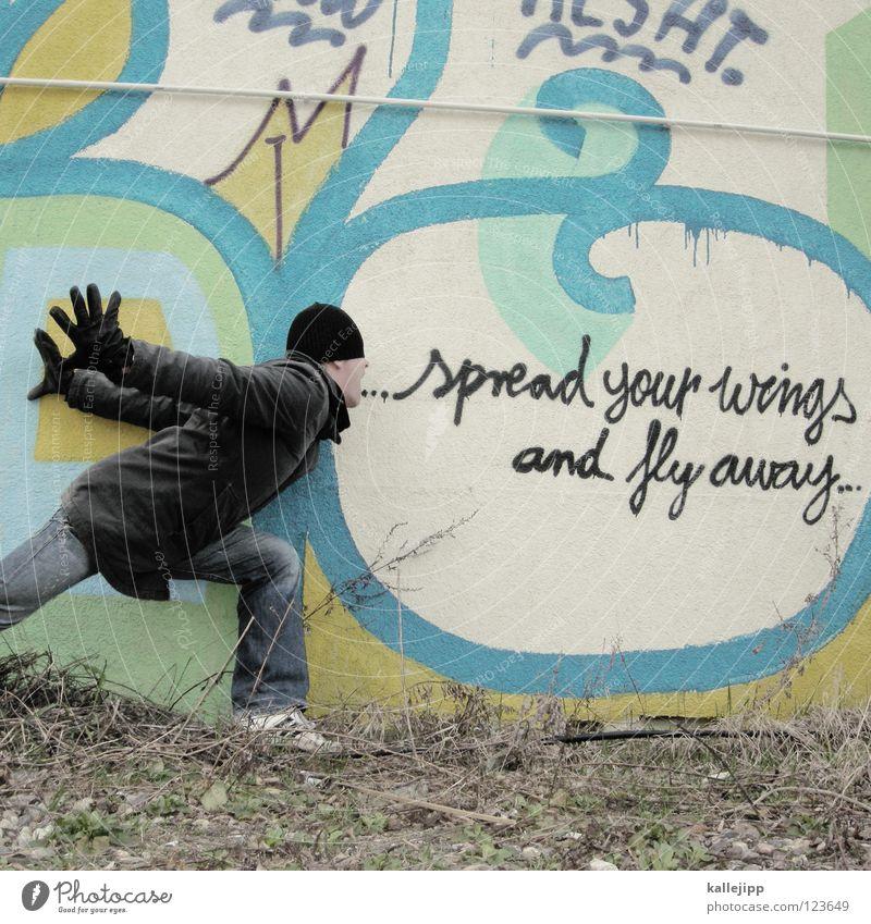 freddie Mensch Mann blau weiß Hand rot ruhig Freude kalt Wand sprechen Graffiti Gefühle lustig Mauer Kunst