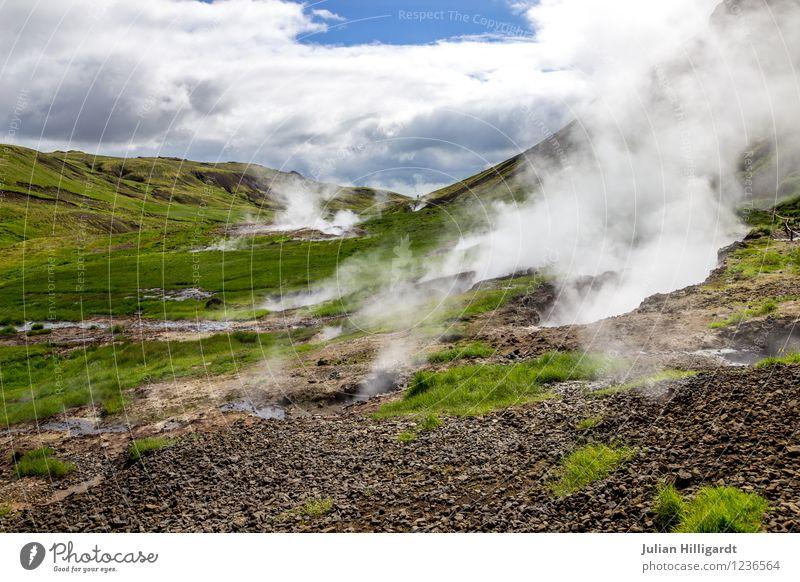 dampfender Boden Lifestyle Ferien & Urlaub & Reisen Ausflug Abenteuer Ferne Freiheit Umwelt Natur Landschaft Gras Stimmung Zufriedenheit Nebelschleier Rauch