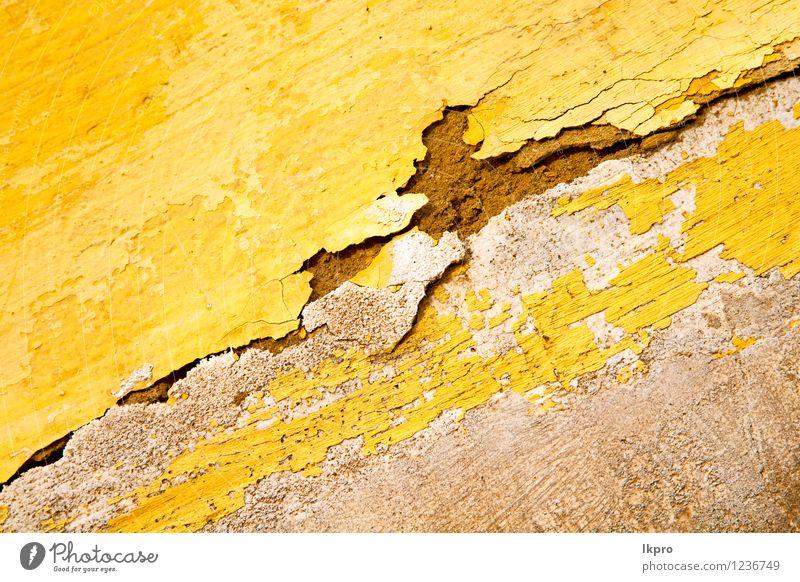 gelb in Textur Wand Design Dekoration & Verzierung Tapete Gebäude Architektur Stein alt retro Konsistenz Hintergrund Oberfläche Grunge Material Konstruktion