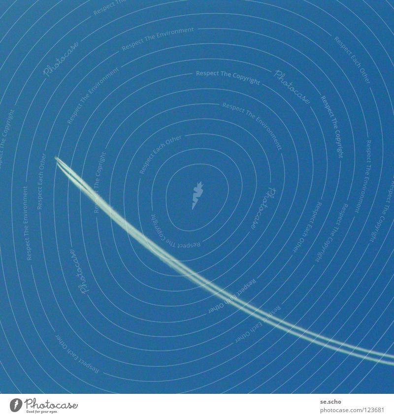 aufwäerts Himmel blau Flugzeug Erfolg Beginn Luftverkehr Kurve aufwärts