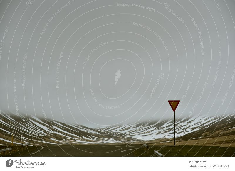Island Umwelt Natur Landschaft Urelemente Wolken Klima Wetter schlechtes Wetter Nebel Berge u. Gebirge Schneebedeckte Gipfel Verkehr Verkehrswege Straße