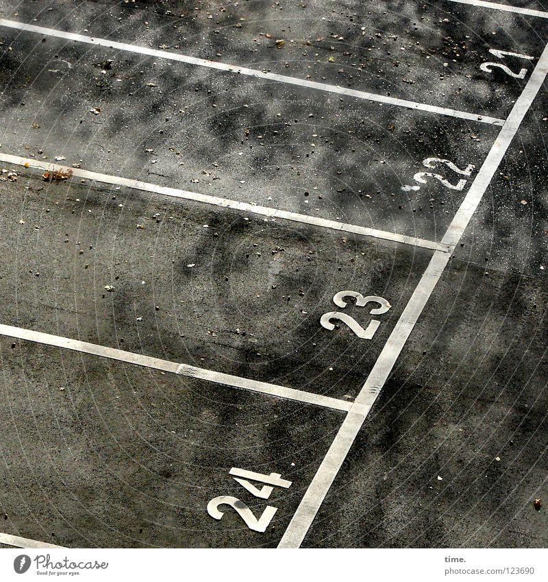 Vier Plätzchen im Halbschatten Parkplatz parken Parkdeck Ziffern & Zahlen Asphalt Streifen 21 23 KFZ Verkehrswege Zufriedenheit Parkmöglichkeit