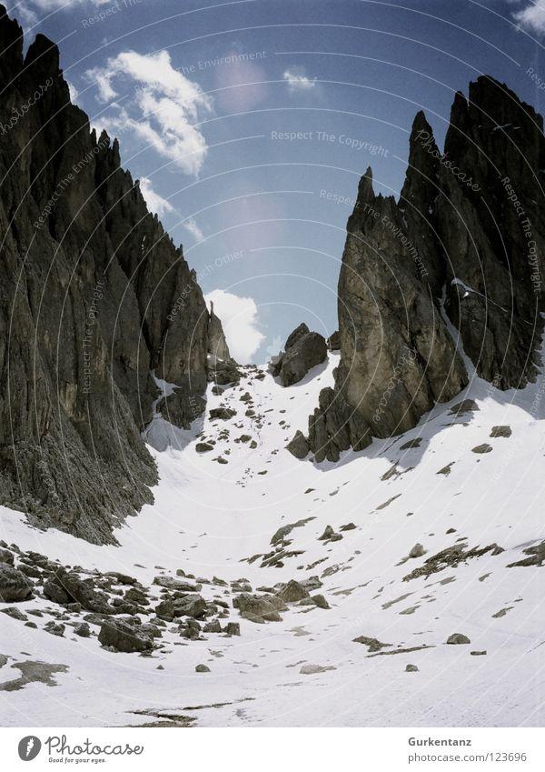 Keinhasenscharte Langkofel alpin Südtirol Geröll Bergstation Italien Bundesland Tirol Wand Berge u. Gebirge Bergsteigen langkofelscharte Alpen wolkenstein