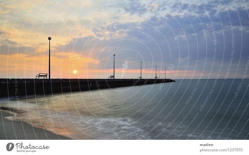 Sonnenbank Himmel blau grün weiß Landschaft ruhig Wolken Strand gelb Küste grau braun Horizont orange Wetter Wellen