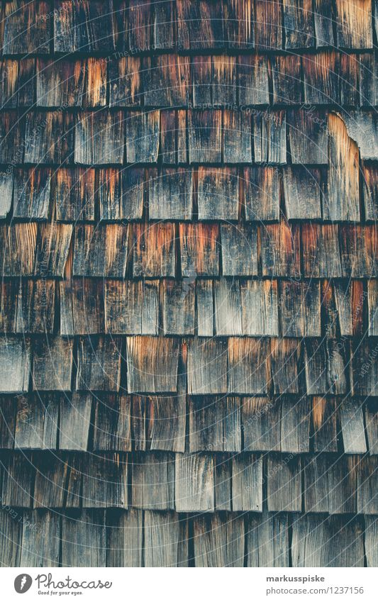 Holzschindel alt Haus Wand Architektur Senior Mauer Fassade Wohnung Häusliches Leben trist authentisch Dach Dorf Verfall Hütte