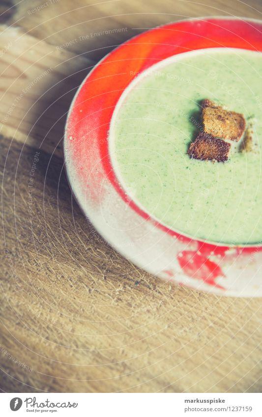 Brokkoli Cremesuppe mit geröstetem Schwarzbrot Gesunde Ernährung Leben Essen Feste & Feiern Lifestyle Lebensmittel Wohnung Küche Wohlgefühl heiß Bioprodukte