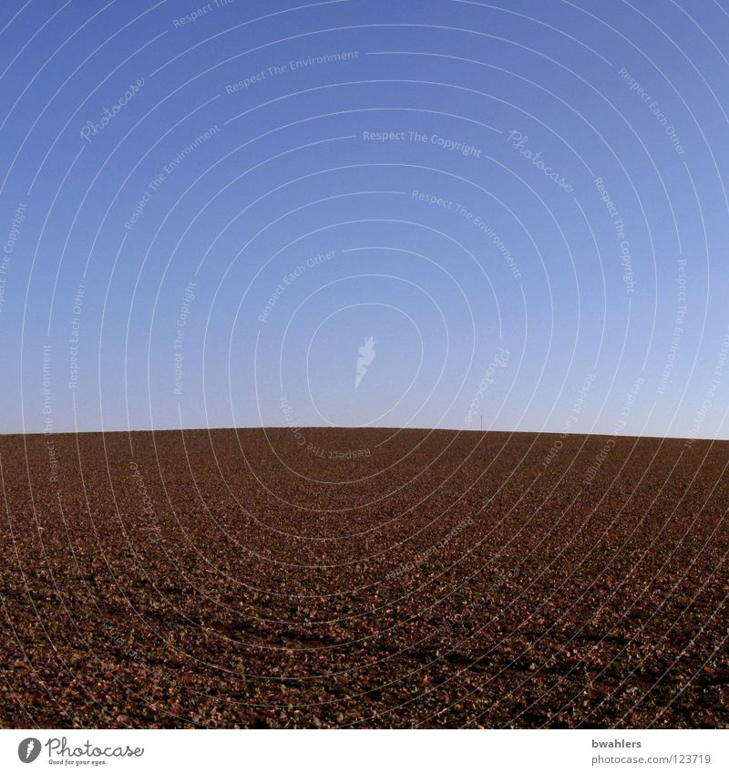 Himmel und Erde blau ruhig Sand Linie braun Feld Hügel Landwirtschaft Amerika Reihe Aussaat