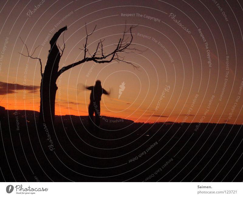 erste Flugversuche Mensch schön alt Himmel Baum Freude ruhig schwarz Wolken Freiheit träumen Feld fliegen zart sanft anstrengen