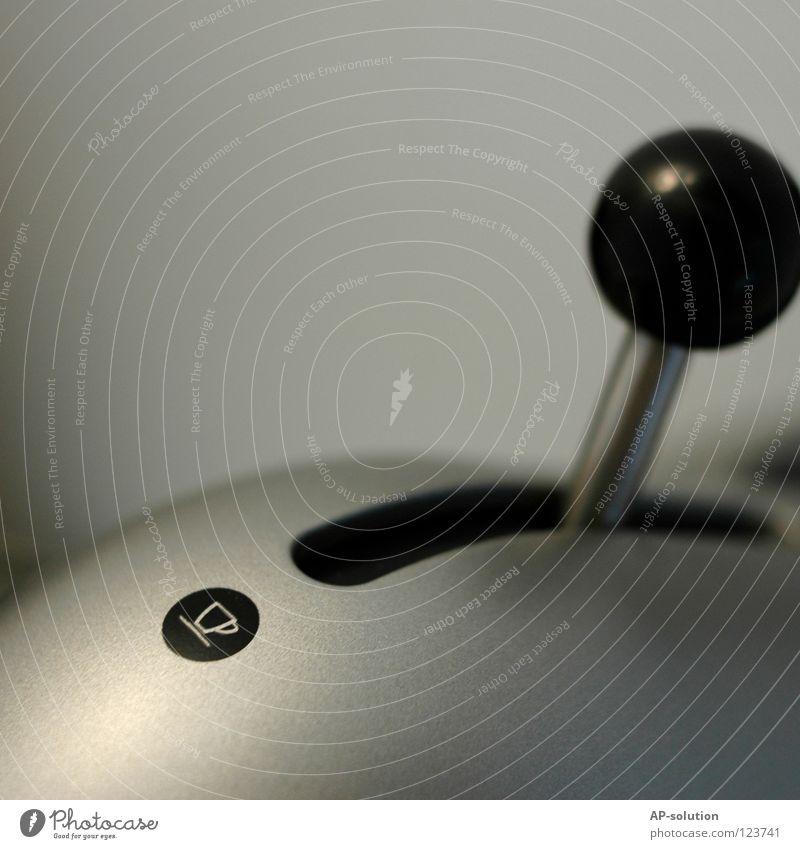 Pause! Tasse Zeichen grau schwarz weiß Müdigkeit Kaffeemaschine Café Symbole & Metaphern Piktogramm Hebel Schalter Haushalt Elektrisches Gerät Haushaltsgerät