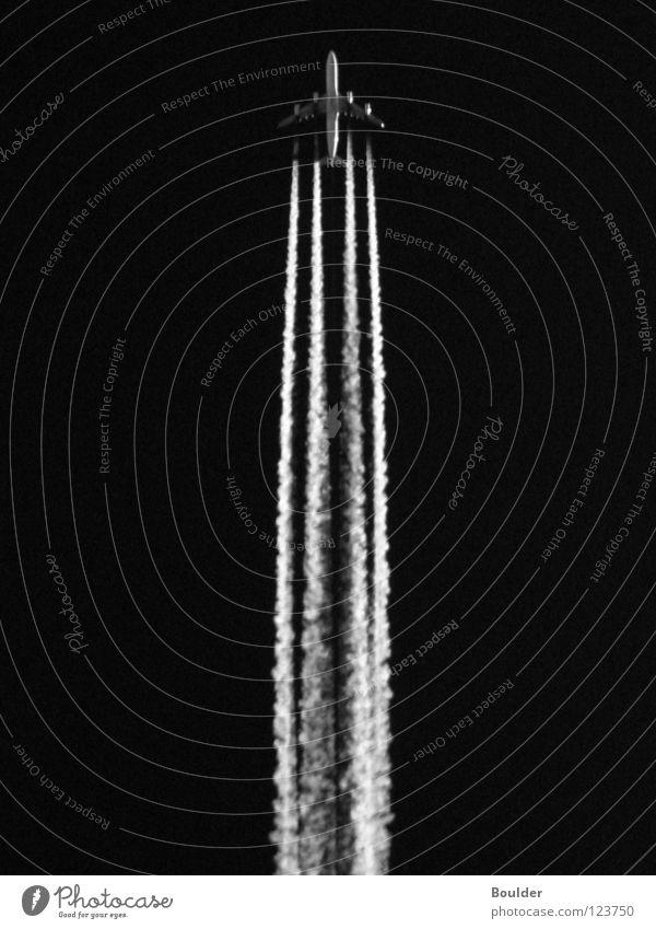 SPACE I Himmel Beleuchtung Flugzeug Luftverkehr vertikal Triebwerke Kondensstreifen