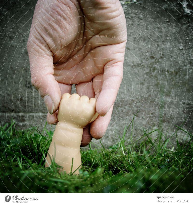 Take my hand grün Wachstum Reifezeit Hand Faust Spielzeug skurril Humor Freude Rasen Ernte Arme Puppenarm Statue