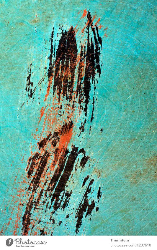 Die Erinnerung bleibt. rot schwarz Gefühle Kunst Linie Metall ästhetisch einfach Kraft türkis Willensstärke Kratzer Oberflächenstruktur