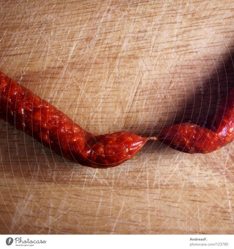 Salami I Tier Holz Lebensmittel 2 paarweise Ernährung Kochen & Garen & Backen Scharfer Geschmack Küche Zusammenhalt Gastronomie Appetit & Hunger Verbindung