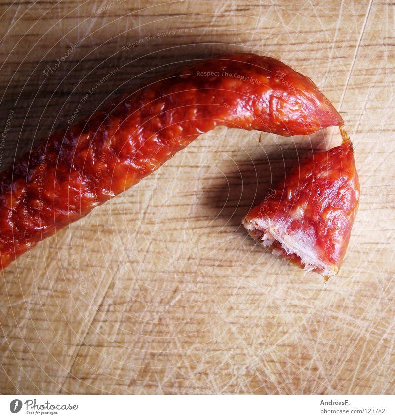 Salami II Wurstwaren Fleisch Snack Ernährung 2 Verbundenheit Zusammensein Darm Holz Schneidebrett Zutaten Abendessen Appetit & Hunger Fett bifi miniwurst
