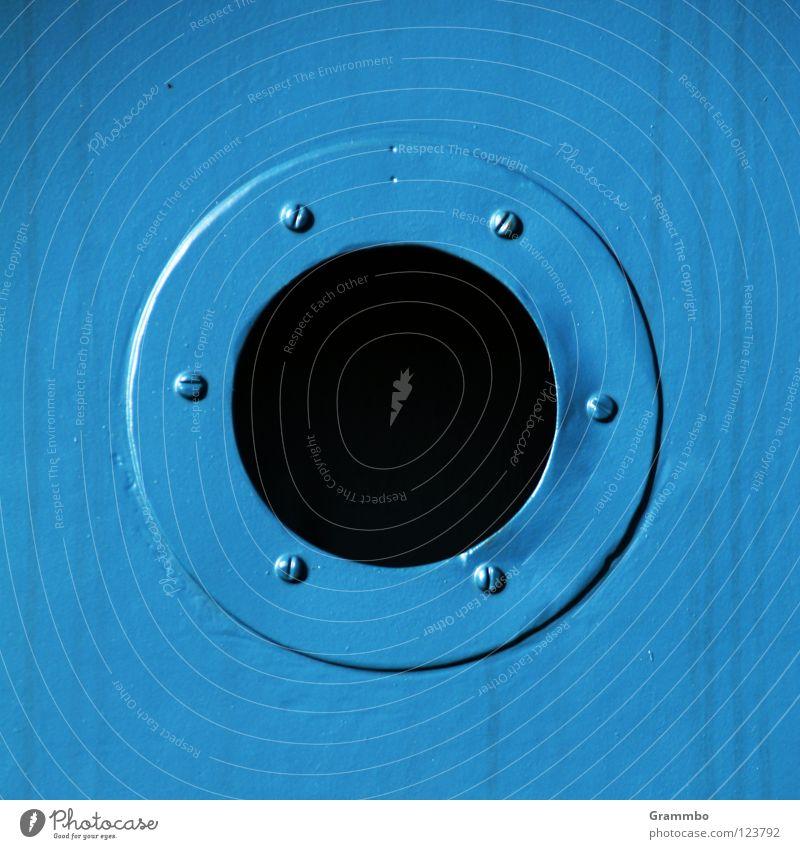 Schwarzes Loch blau dunkel Metall Technik & Technologie rund Schraube Elektrisches Gerät
