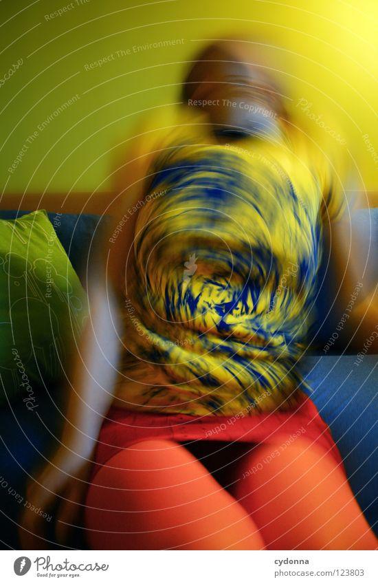 ColourVision Strumpfhose Auslöser Stil Pornographie retro Bekleidung Generation schick Frau Langzeitbelichtung Schwung T-Shirt Aktion Lust Laune alternativ Sofa