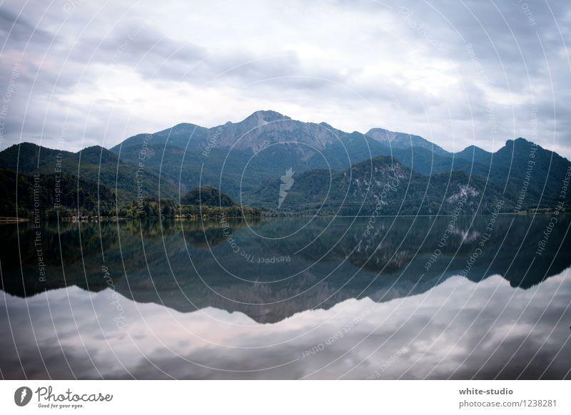 Spieglein Spieglein Umwelt Natur Landschaft Pflanze Himmel schlechtes Wetter Alpen Berge u. Gebirge Seeufer ruhig Reflexion & Spiegelung Spiegelbild Idylle