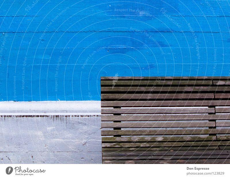Minimal! weiß blau Wand Mauer Linie braun Bank Grafik u. Illustration Verkehrswege graphisch Bremen sehr wenige reduzieren Holzbank
