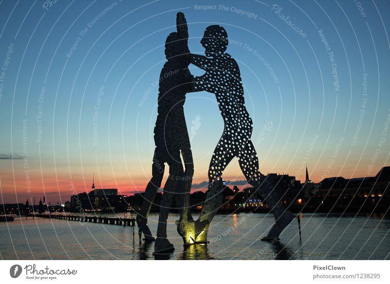 Molecule Man Berlin Lifestyle Stil Ferien & Urlaub & Reisen Tourismus Städtereise Nachtleben ausgehen Kunst Kunstwerk Skulptur Sonnenaufgang Sonnenuntergang