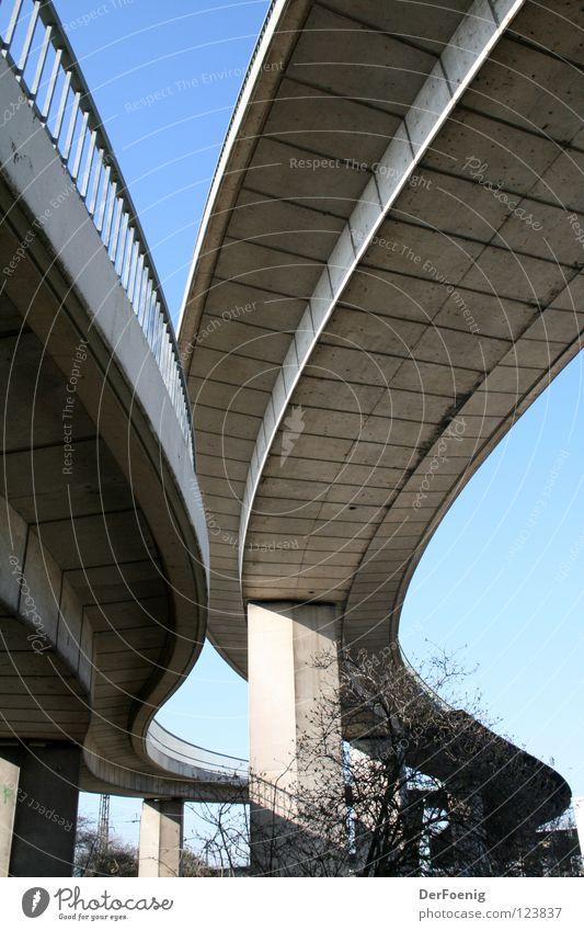 Neusser Beton Beton Brücke Blauer Himmel geschwungen Autobrücke Kreis Neuss
