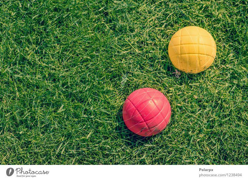Boule Spiel im Garten Natur Ferien & Urlaub & Reisen grün Sommer Erholung rot gelb Gras Sport Spielen Park Freizeit & Hobby Aktion Erfolg Rasen