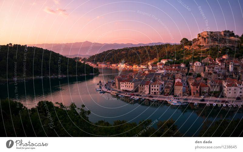 Sonnenuntergang Novigrad in Dalmatien Kroatien Natur Ferien & Urlaub & Reisen Sommer Erholung Landschaft Ferne Wald Berge u. Gebirge Horizont Tourismus Ausflug