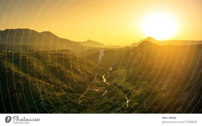 Sonnenuntergang Cetina Kroatien Himmel Natur Ferien & Urlaub & Reisen Sommer Wasser Landschaft Ferne Wald Berge u. Gebirge Wärme träumen Tourismus gold wandern