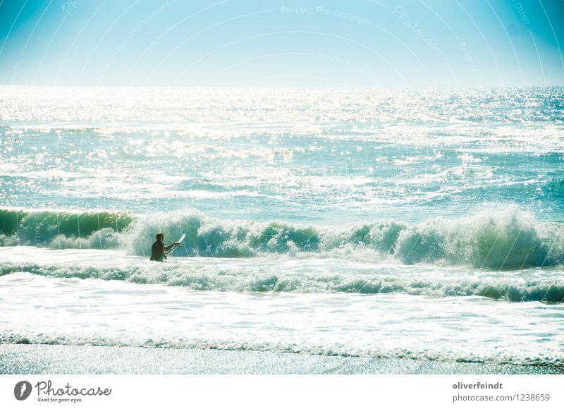 Surfen VI Mensch Himmel Natur Ferien & Urlaub & Reisen Jugendliche Sommer Meer Junger Mann Ferne Strand 18-30 Jahre Erwachsene Umwelt Küste Sport Freiheit