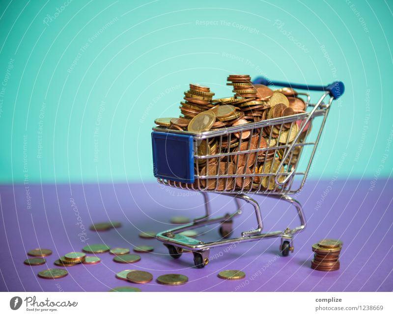 Euro, Münzen, Kleingeld Lebensmittel Ernährung kaufen Reichtum Geld sparen Handel Kapitalwirtschaft Börse Geldinstitut Business violett türkis Spielsucht