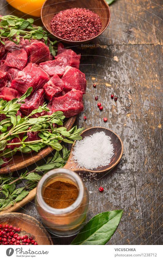 Fleischwürfel und Zutaten für Gulasch Gesunde Ernährung Leben Stil Hintergrundbild Lebensmittel rosa Design Tisch Kochen & Garen & Backen Kräuter & Gewürze