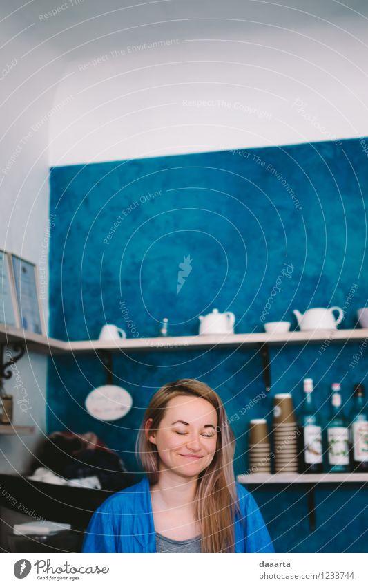 Schönheitsschlaf bei der Arbeit blau schön Erholung Freude Wärme Leben Gefühle feminin Stil Stimmung Freundschaft glänzend Freizeit & Hobby wild frisch elegant
