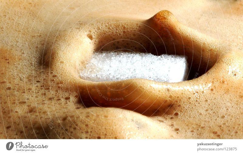 Kaffee mit Milch und Zucker Getränk Kaffee süß heiß Zucker Würfel Koffein Süßstoff