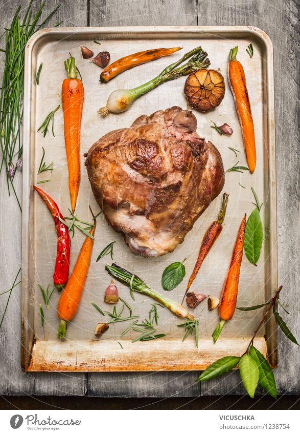 Lammkeule Braten mit Gemüse und Kräutern Lebensmittel Fleisch Kräuter & Gewürze Ernährung Abendessen Festessen Bioprodukte Stil Design Gesunde Ernährung