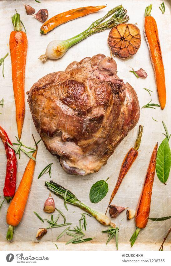 Lammkeule Braten mit geröstetem Gemüse Lebensmittel Fleisch Kräuter & Gewürze Ernährung Festessen Stil Design Gesunde Ernährung Feste & Feiern Ostern