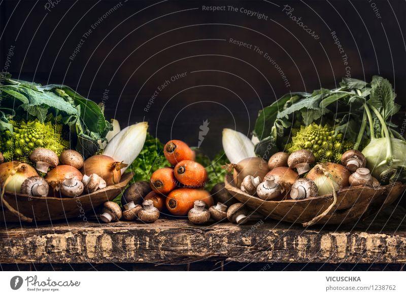 Bio Gemüse Auswahl - reiche Gartenernte Natur Gesunde Ernährung gelb Leben Stil Hintergrundbild Feste & Feiern Lebensmittel Design Tisch Küche Fahne Bioprodukte