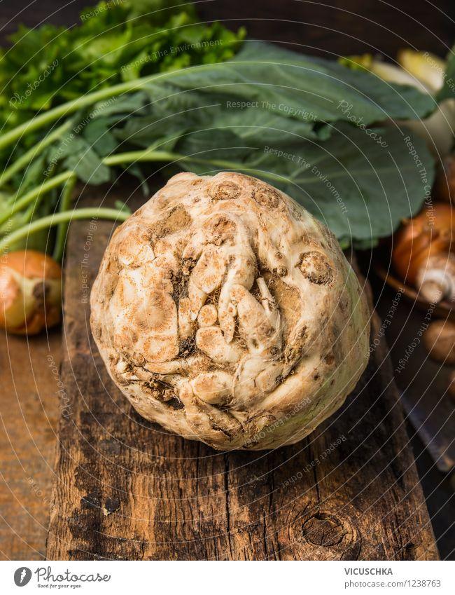 Bio Sellerieknolle auf rustikalem Holztisch Natur Gesunde Ernährung Leben Stil Foodfotografie Garten Lifestyle Lebensmittel Design Tisch Kochen & Garen & Backen