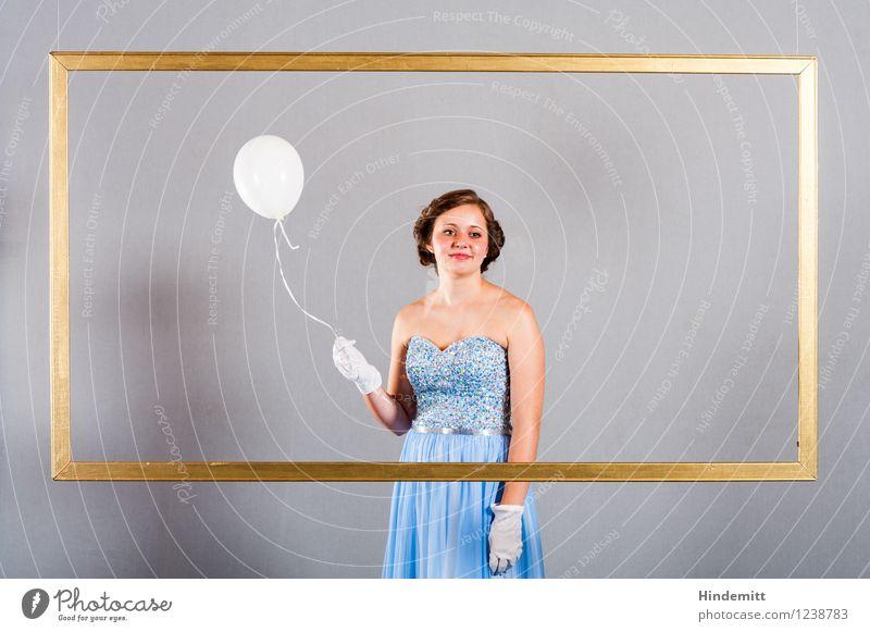 Honigkuchen Mensch Jugendliche Junge Frau blau schön ruhig feminin Glück Stil Feste & Feiern Haare & Frisuren 13-18 Jahre gold elegant blond Lächeln