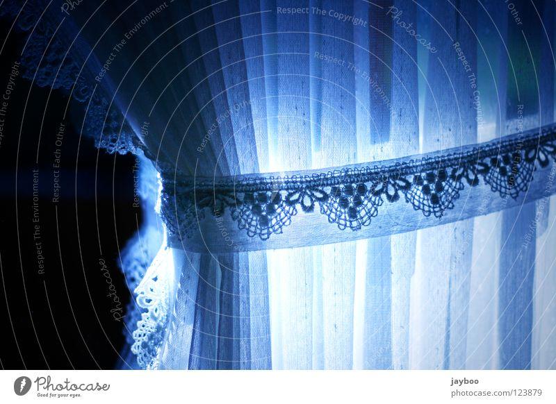Gardine Vorhang weiß schwarz Fenster Sichtschutz dunkel Muster Sticken altmodisch Möbel Küche Dekoration & Verzierung blau Spitze Tür Sonne gestickt