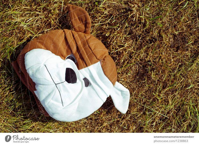Hundekopf Kunst Kunstwerk ästhetisch Maske Boden Maskenball Hundeschnauze Hundeblick Hundeauge braun Gras Wiese verkleiden liegen Farbfoto mehrfarbig