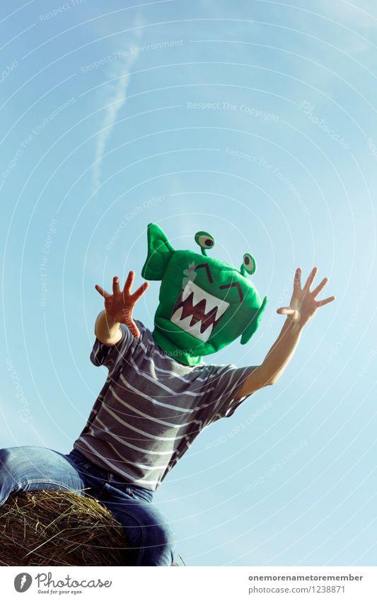 ROOOAAAR! grün Hand Freude lustig Spielen Kunst ästhetisch Maske Kunstwerk greifen Karnevalskostüm Monster spaßig Spaßvogel Außerirdischer außerirdisch