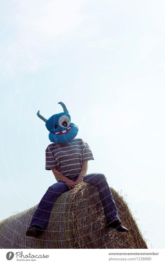 Sitzenbleiber blau Sommer Erholung Kunst sitzen ästhetisch Jugendkultur Kunstwerk grinsen Monster Außerirdischer Jugendstil