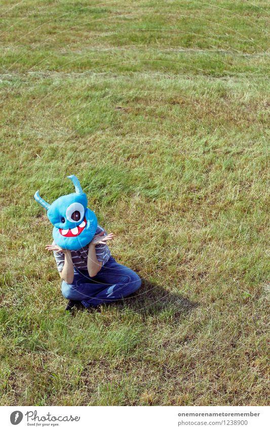 Saaag! Kunst Kunstwerk ästhetisch grün blau Monster Kostüm verkleidet Freude spaßig Spaßvogel Spaßgesellschaft warten sitzen staunen abstützen hocken hockend