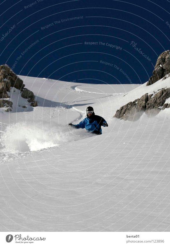 Powder Day Himmel Ferien & Urlaub & Reisen blau ruhig kalt Berge u. Gebirge Wärme Schnee Sport Spielen Glück Freiheit Felsen genießen gefährlich Gipfel